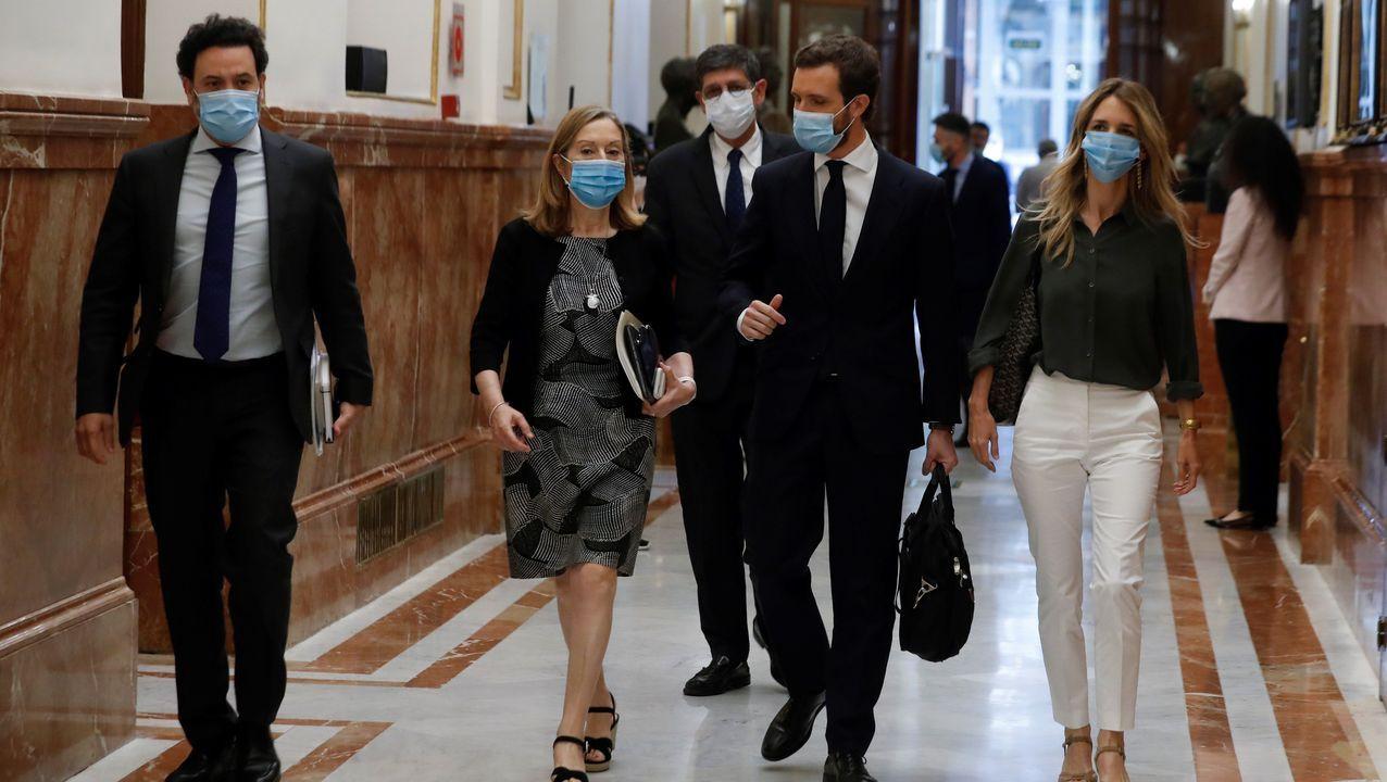 Casado, a su llegada al pleno del Congreso