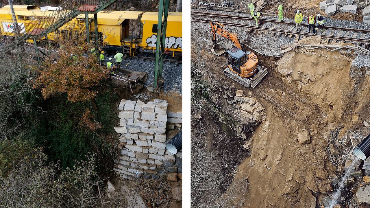 En la imagen de la izquierda puede observarse el muro con piedras de mampostería que se construyó en Frieira para reforzar el primer socavón, el del 11 de diciembre. En la fotografía de al lado, tomada ayer, se observa que los equipos que intentan restablecer la circulación tuvieron que demoler el muro recién construido para poder acceder a la zona que hay que reparar, según informa el ADIF
