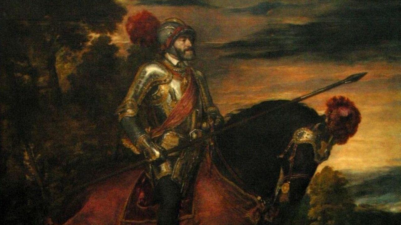 Detalle do retrato de Carlos V pintado por Tiziano