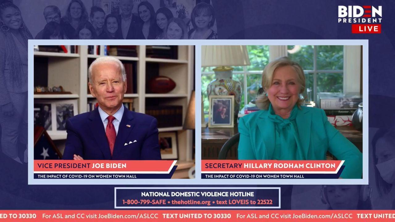 Hillary Clinton hizo el anuncio en una videoconferencia que emitió junto a Biden