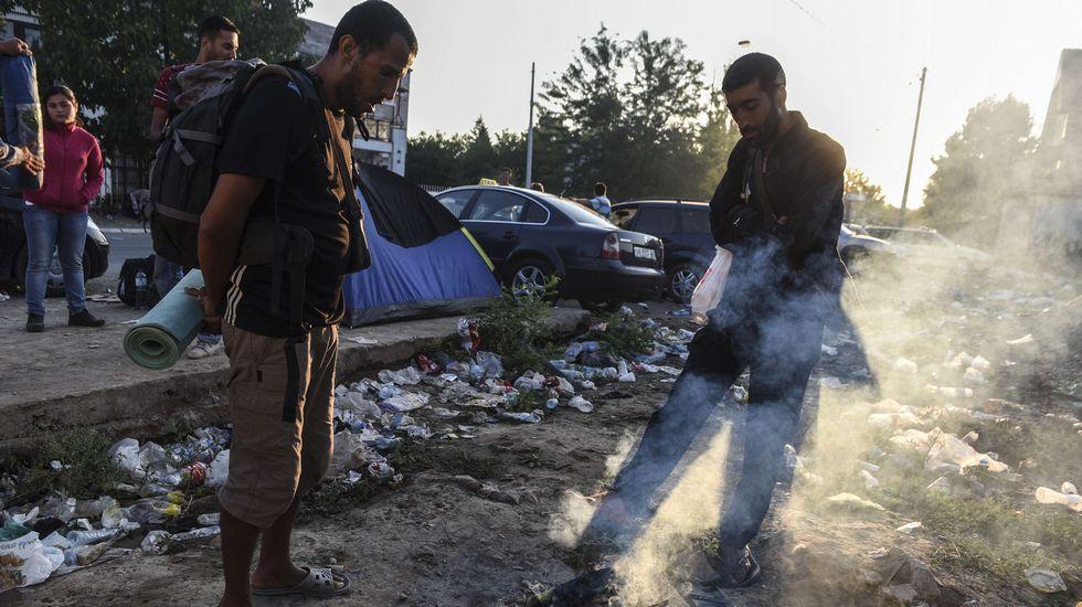 Inmigrantes sirios esperan al lado de un fuego extinto en Presevo, después de caminar desde Macedonia hasta Serbia