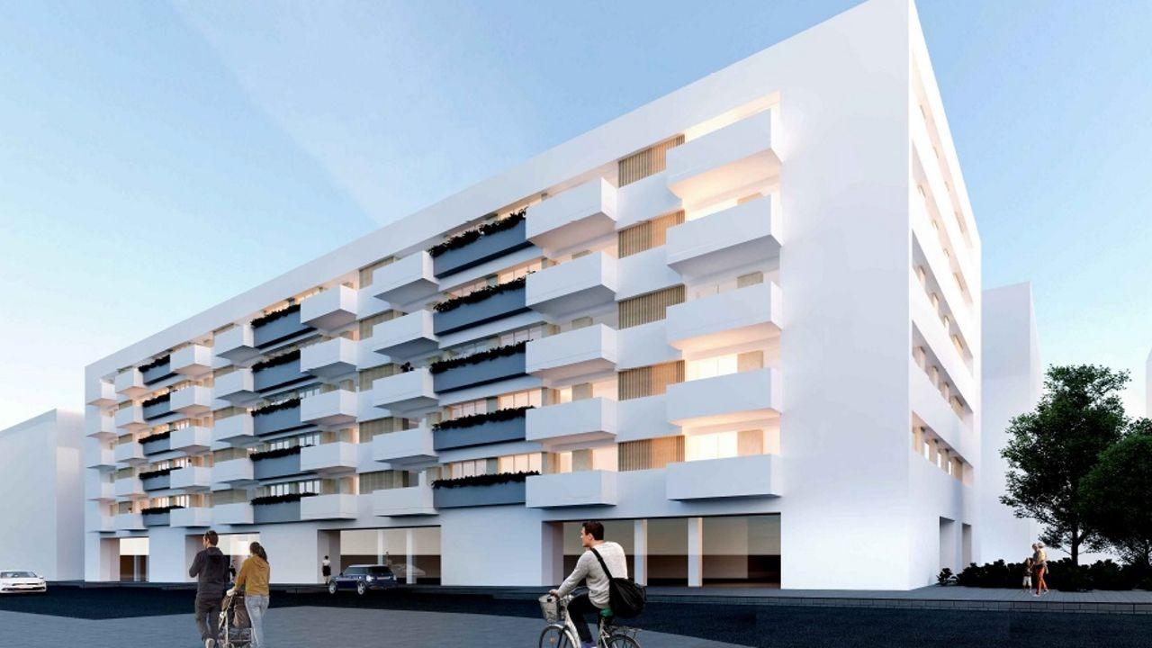 Recreación de las 50 viviendas que se construirán en Xuxán
