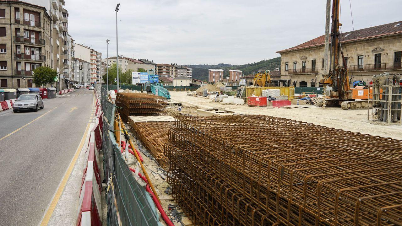 Así ha sido la vuelta al trabajo de la construcción en Galicia.Las obras de la estación intermodal de Ourense, paralizadas