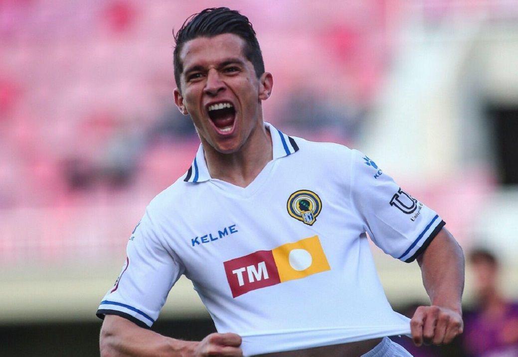 Juanjo Nieto celebra un gol durante su etapa con el Hércules
