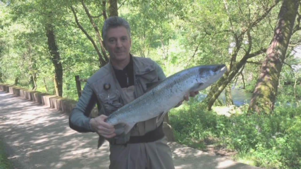 José Maquieira. Pescador que ha capturado el «campanu» en el río Lérez este año 2018
