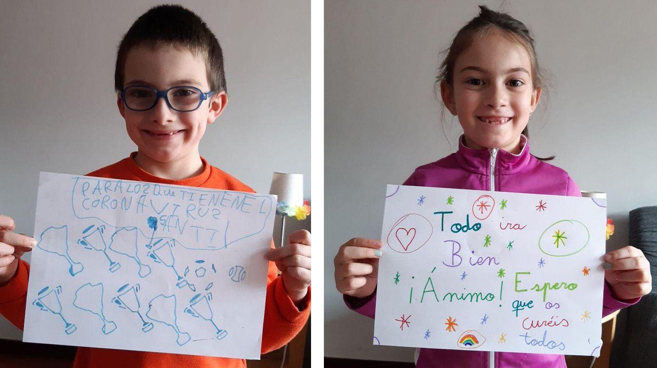 Santiago y Carolina han enviado sus dibujos a los pacientes ingresados en el HUCA
