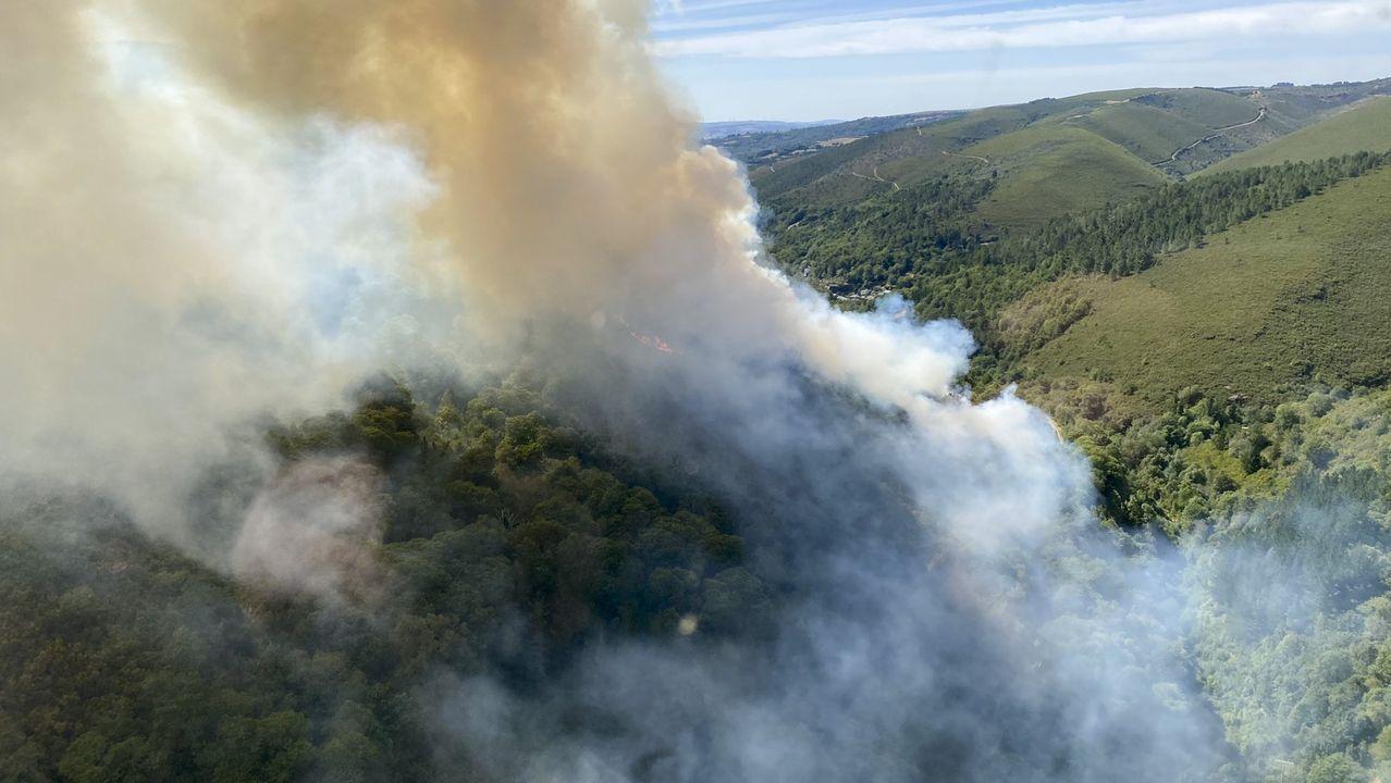 Incendio forestal en Ames.Incendio declarado en la tarde del domingo en A Ferrería de O Incio
