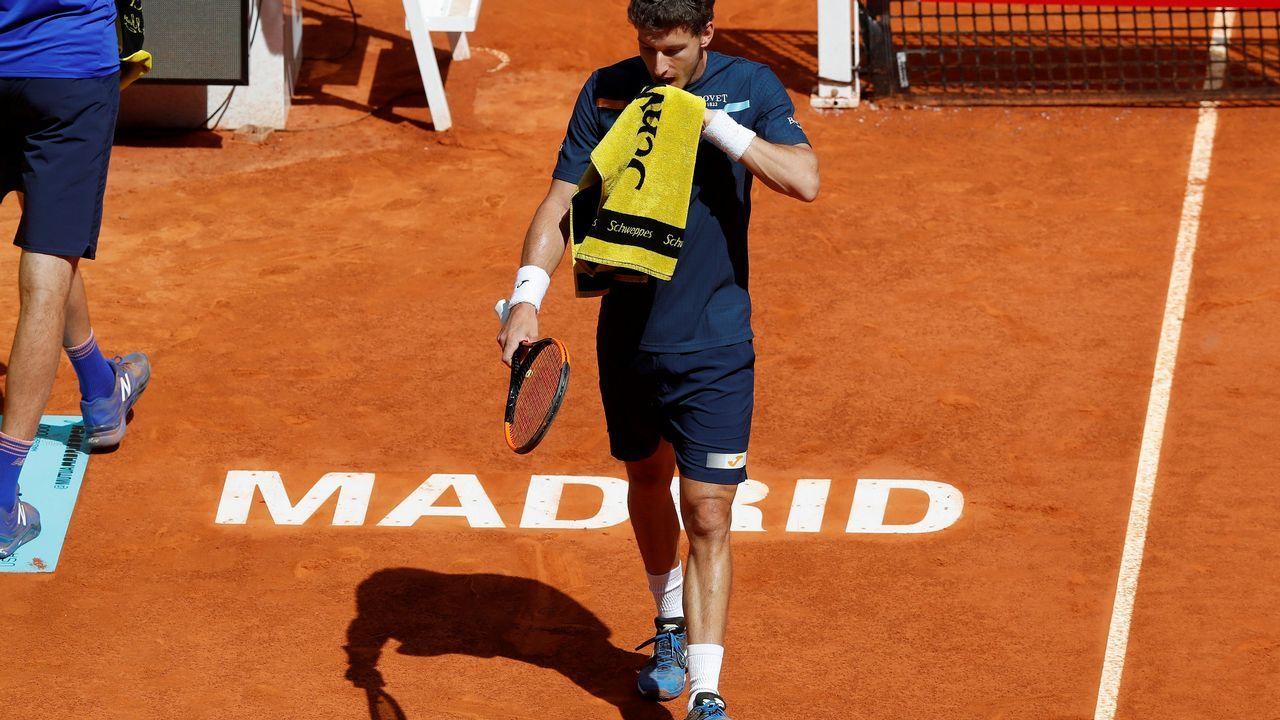El show deKyrgios por el que acabó abucheado.El tenista español Pablo Carreño ante el estadounidense Reilly Opelka durante su partido de ronda clasificatoria del Mutua Madrid Open de tenis que se disputa en la Caja Mágica, en Madrid