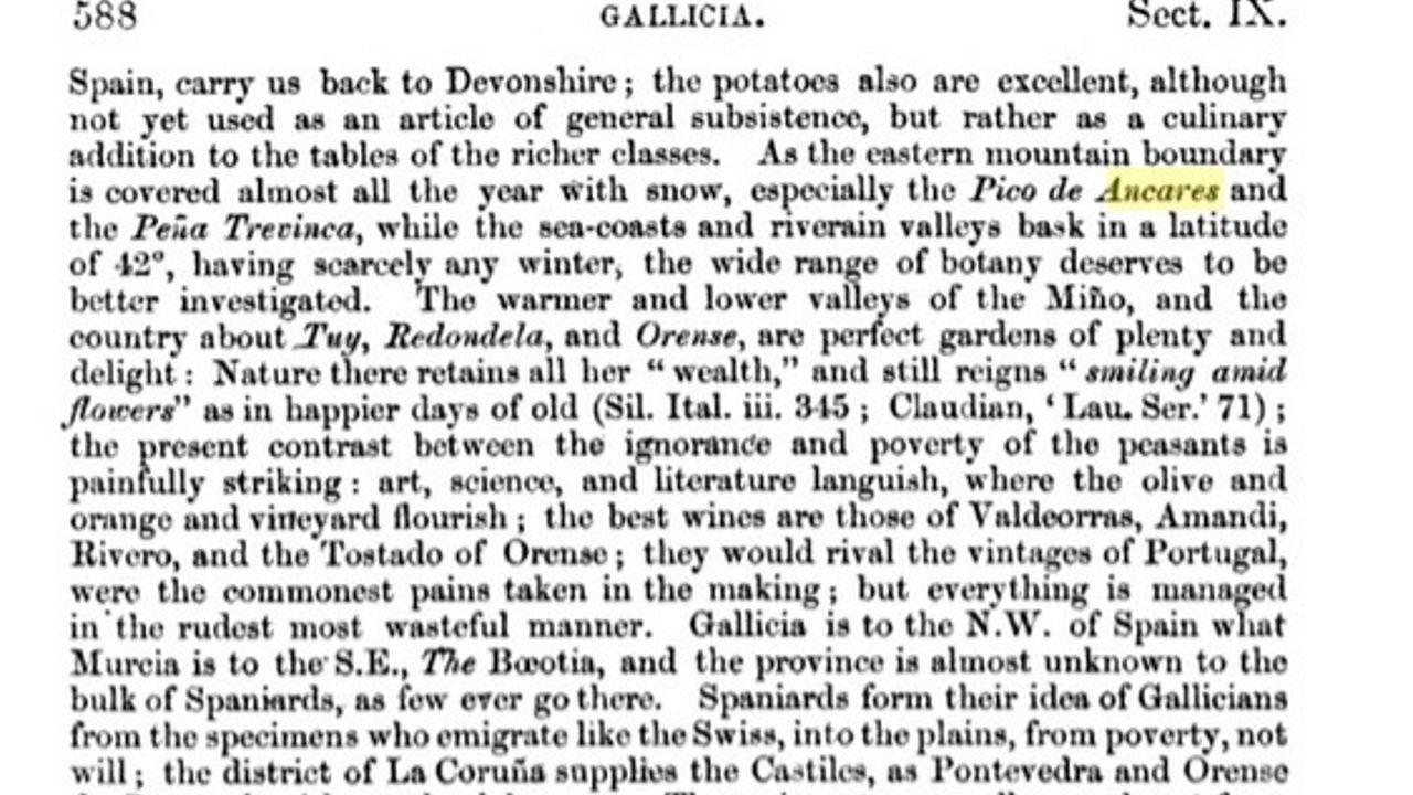 Libro do inglés Richard Ford no ano 1855, onde se fala do Pico de Ancares