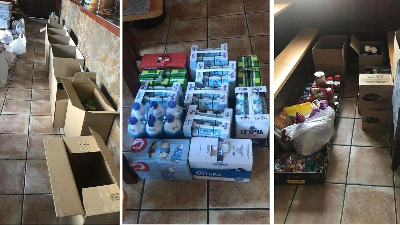 Productos donados por los vecinos de Cambre