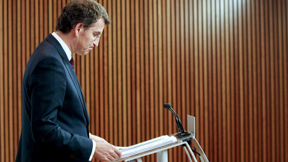 El presidente de la Xunta, Alberto Núñez Feijoo, ayer tras la reunión del Consello de la Xunta.