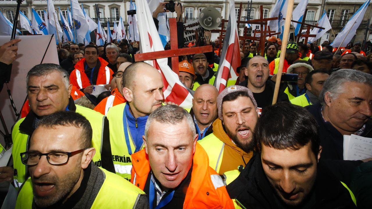 Trabajadores de Alcoa en San Cibrao, durante una protesta reciente en Lugo