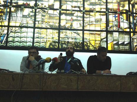 Representantes de CIG, UGT y CC.OO., durante la rueda de prensa