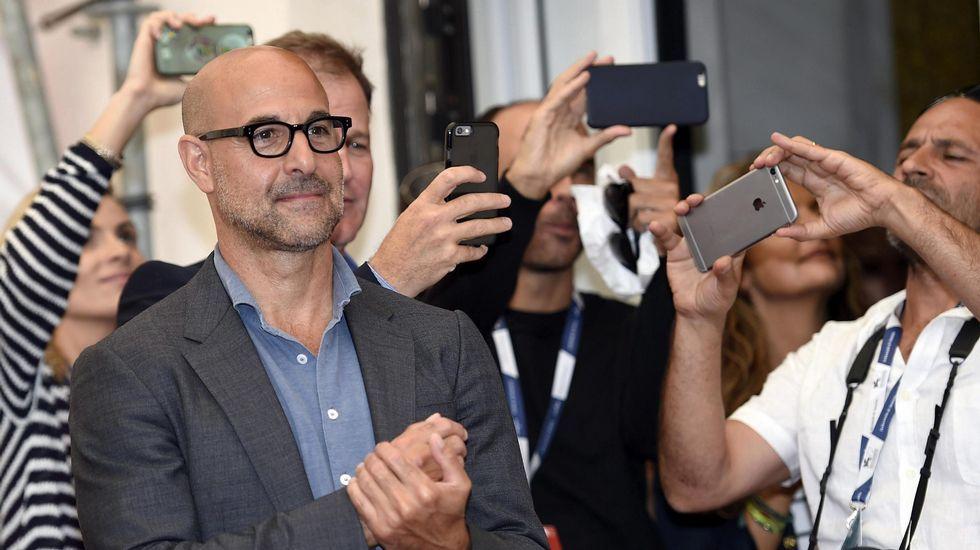 El actor estadounidense Stanley Tucci posa durante la presentación de la película «Spotlight»