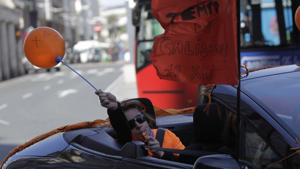 Caravana de protesta de los trabajadores de Benestar