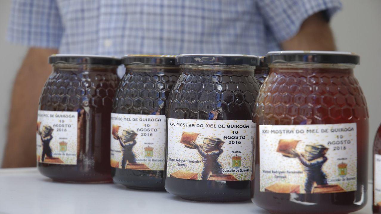 Venta de miel en un puesto de la feria que se dedica a este producto en Quiroga
