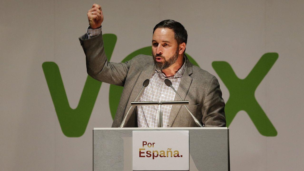El líder de Vox, Santiago Abascal, en un mitin en A Coruña en abril del 2019
