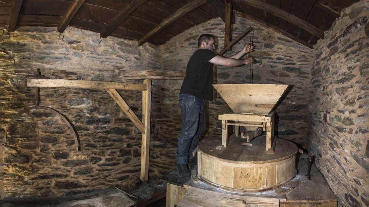 Roi Estévez xunto á maquinaria restaurada do antigo muíño da aldea de Vieiros