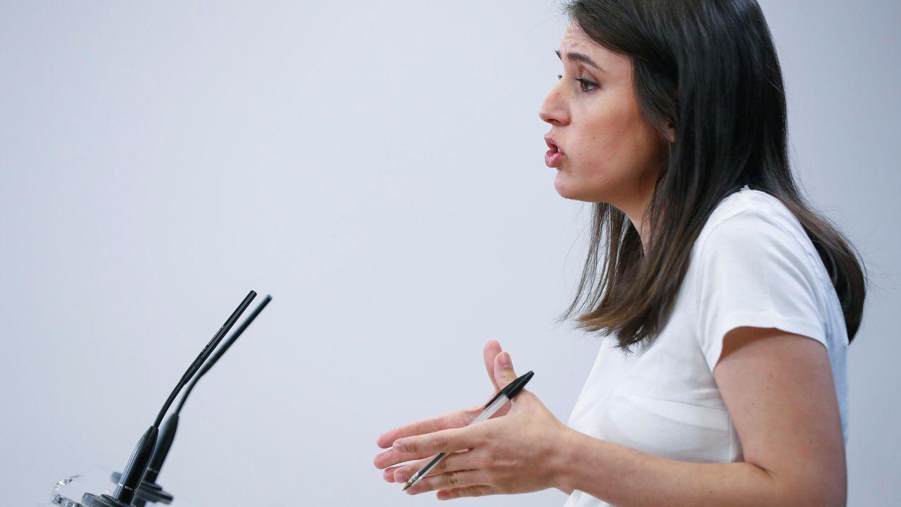 La portavoz del grupo parlamenterio de Unidas Podemos, Irene Montero