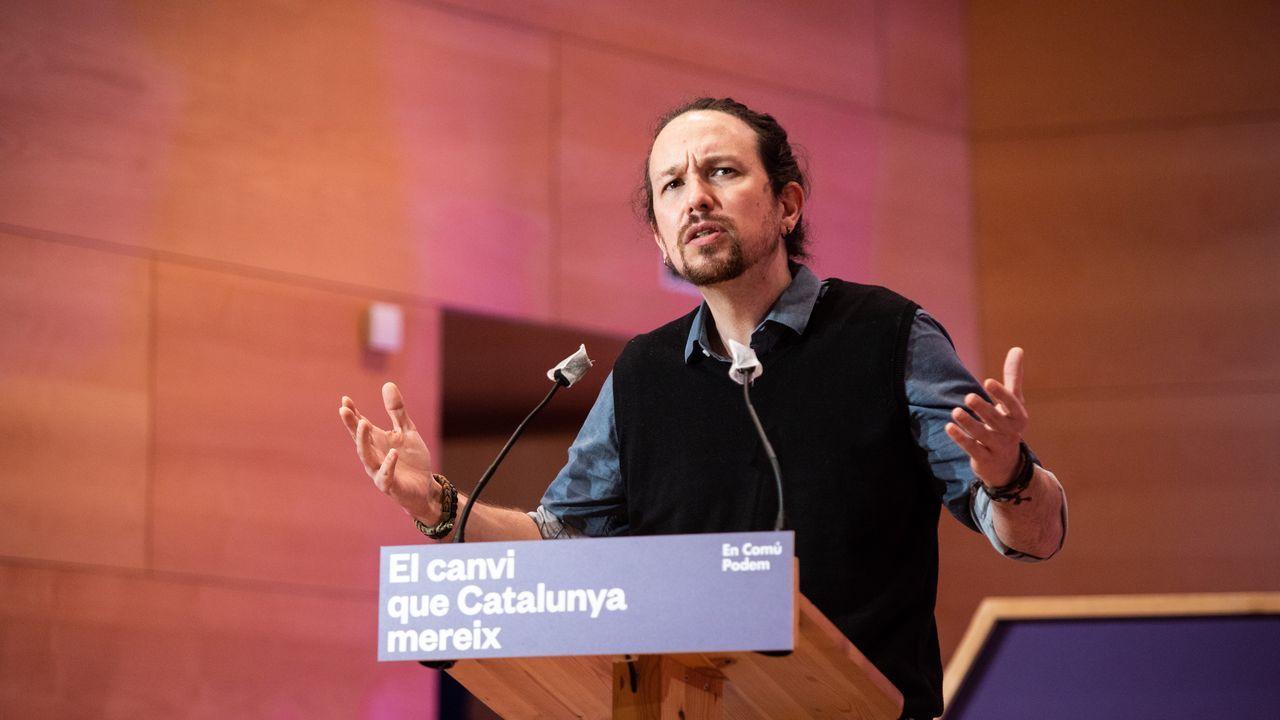 Pablo Iglesias, durante un mitin de En Comú Podem en Santa Coloma de Gramanet