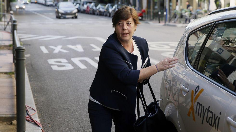 La periodista Carmen del Riego, encargada de moderar la cita, a su llegada a Ferraz.
