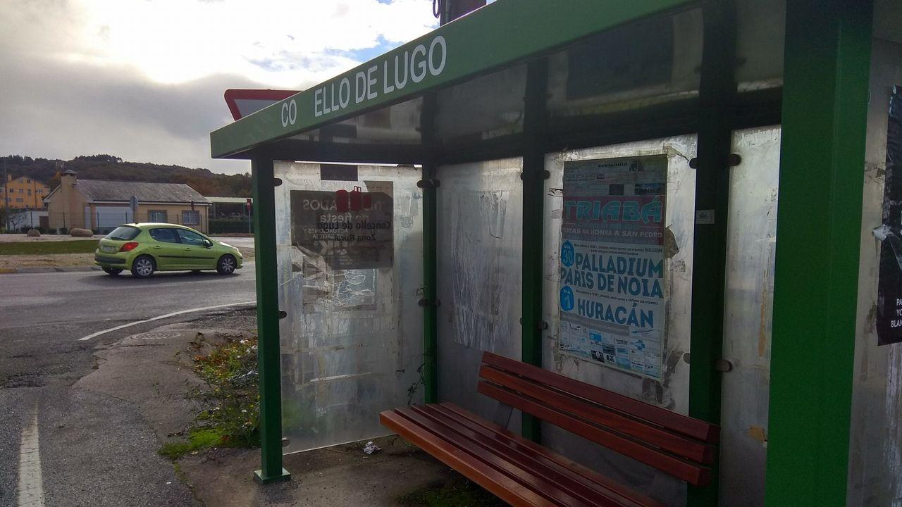 En A Campiña el bus urbano hace parada en esta instalación de metal verde, uno de los colores más utilizados