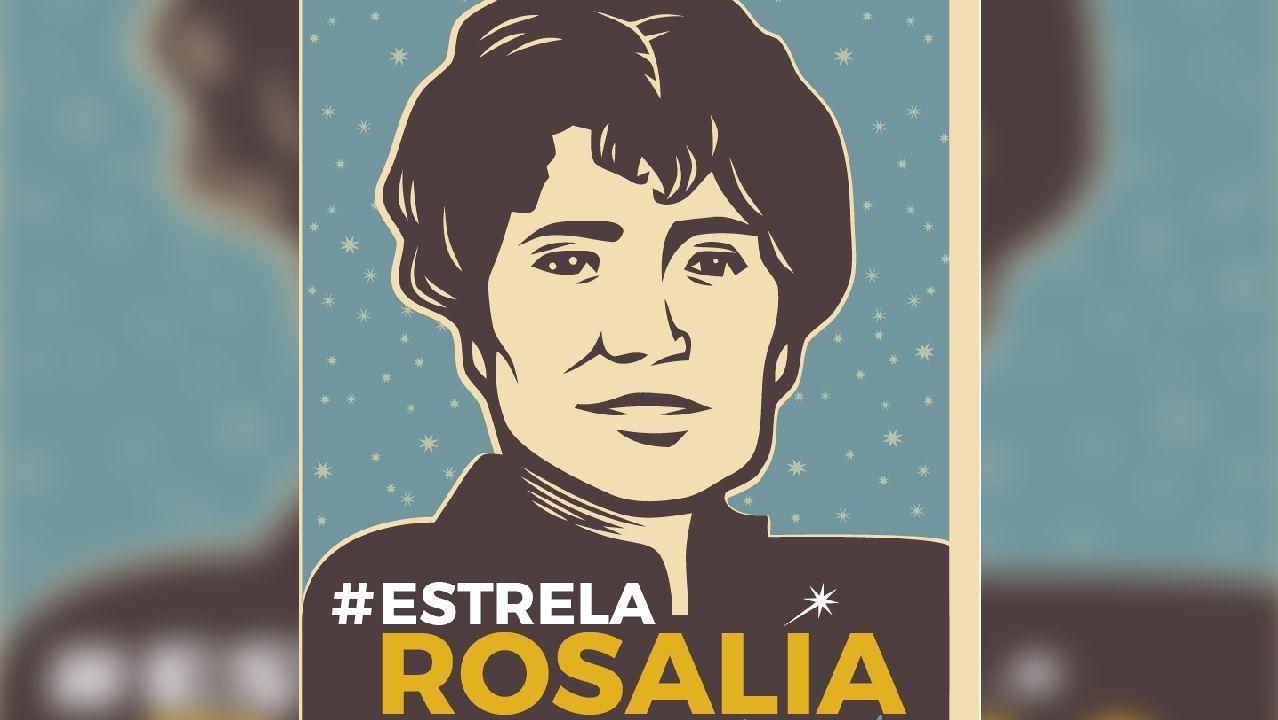 Cartel da campaña a prol de bautizar unha estrela co nome de Rosalía