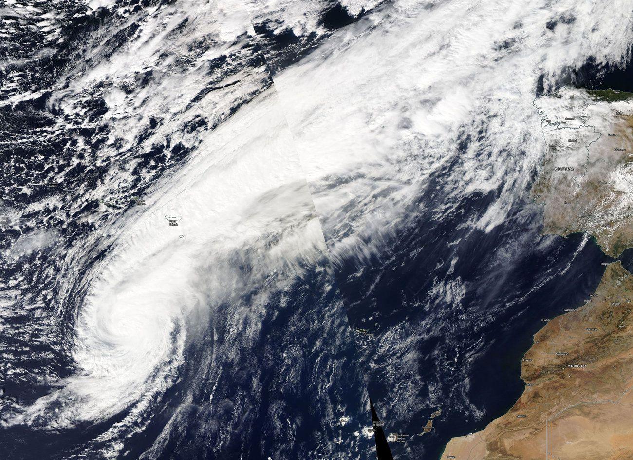 El huracán Leslie a las puertas de la Penínusla en octubre del 2018