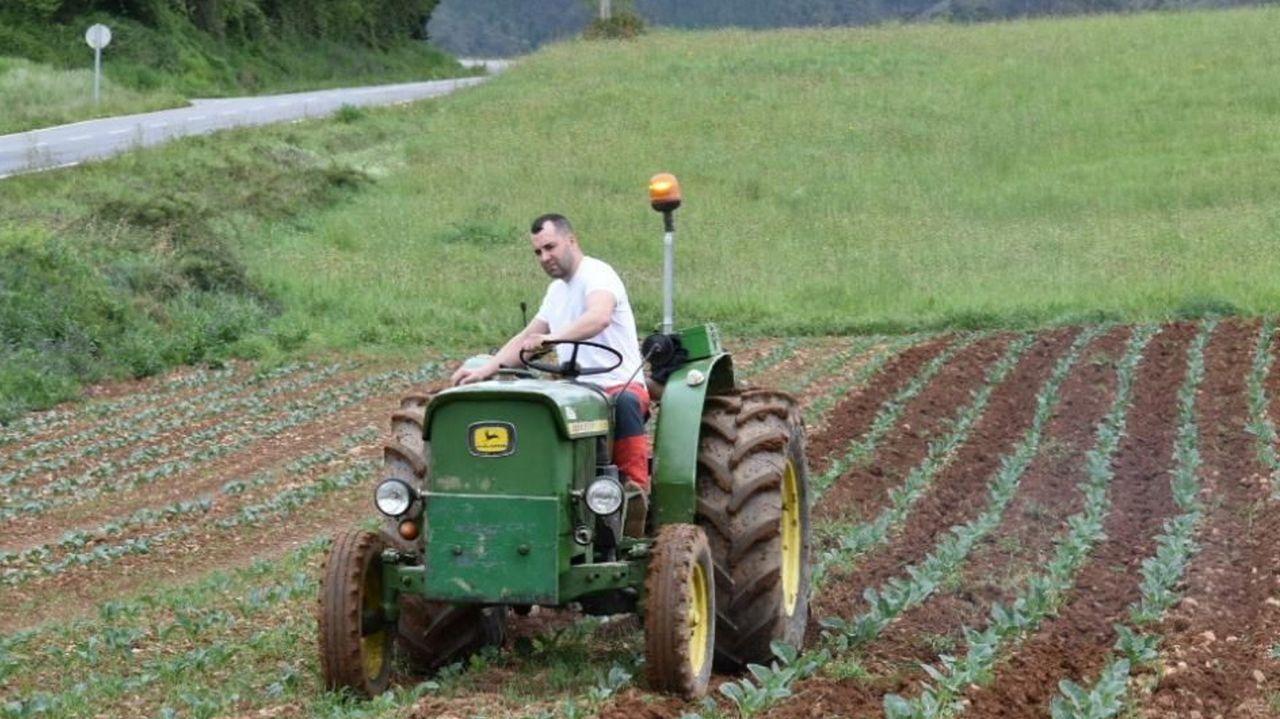 Javier Miranda, de Riotorto, trabajando con su tractor en una finca