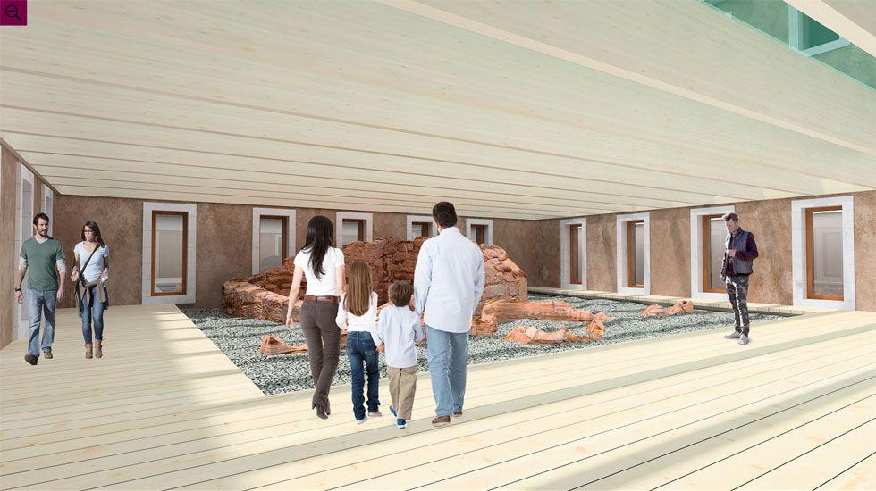 Inundaciones en A Coruña.Simulación del área de interpretación de Tabacalera