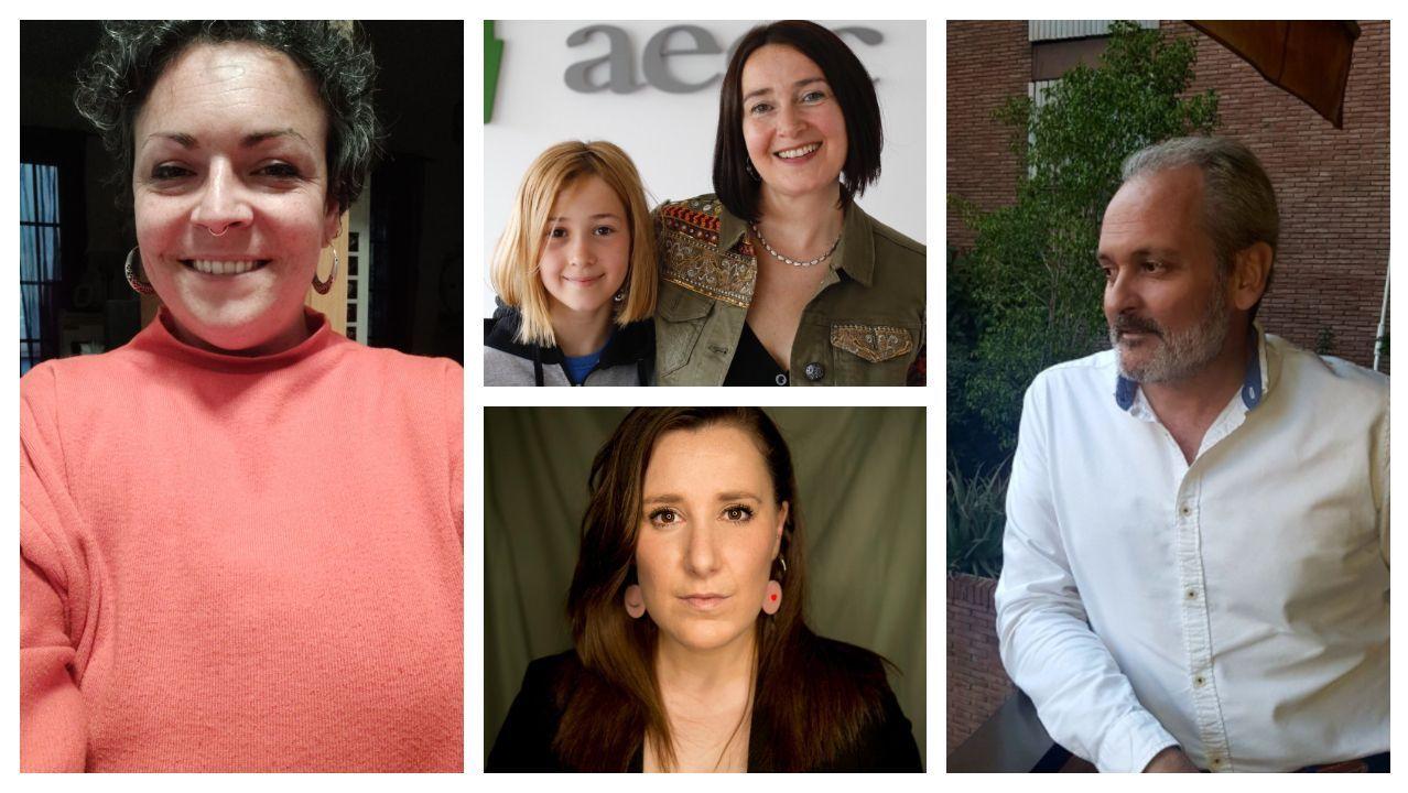 De izquierda a derecha y de arriba abajo: Idoia Miranda, Mirella López, Lidia Pérez y Márius Soler, cuatro rostros de la enfermedad