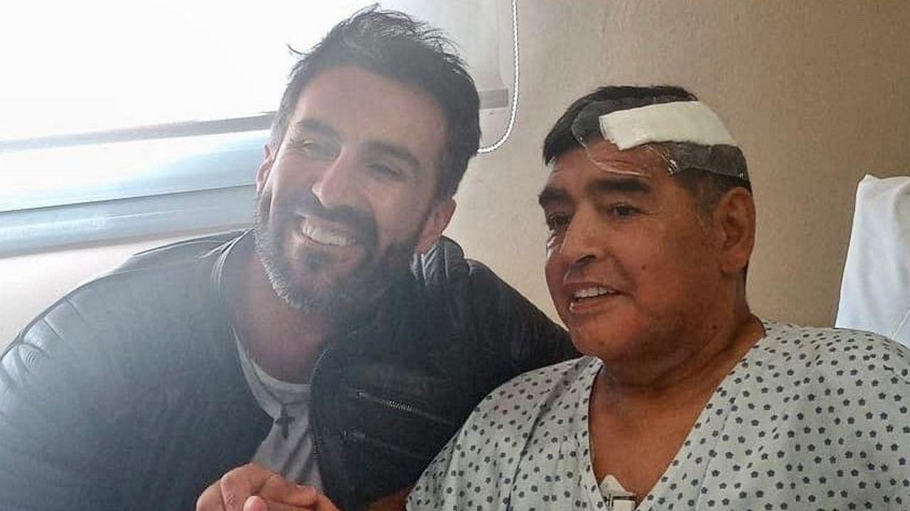 Maradona con su médico, Leopoldo Luque
