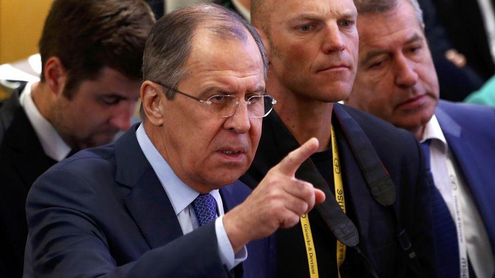 TRUMPPUTINH.Sergei Lavrov, el ministro ruso de Exterioes, en la conferencia de seguridad de Múnich