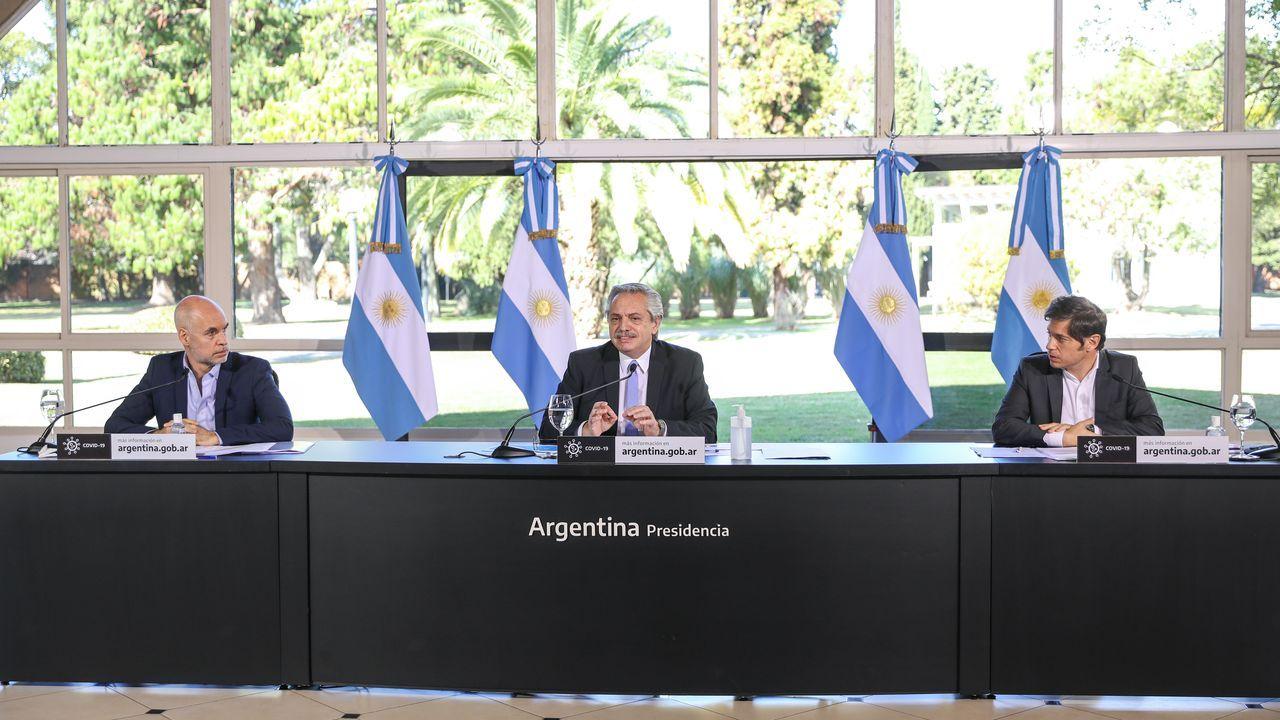 El presidente, Alberto Fernández, anunciando las nuevas medidas
