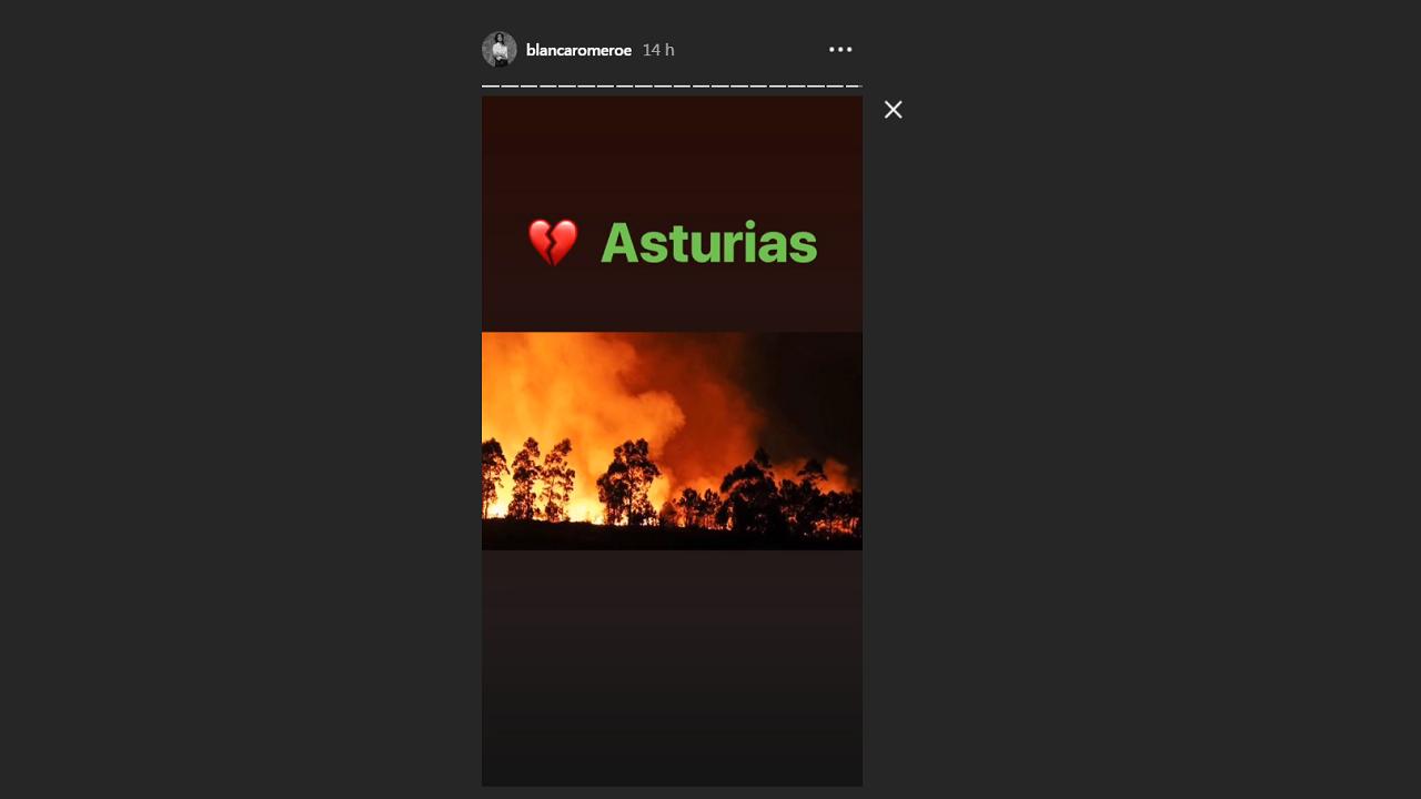 Blanca Romer muestra en redes su dolor por los incendios en Asturias