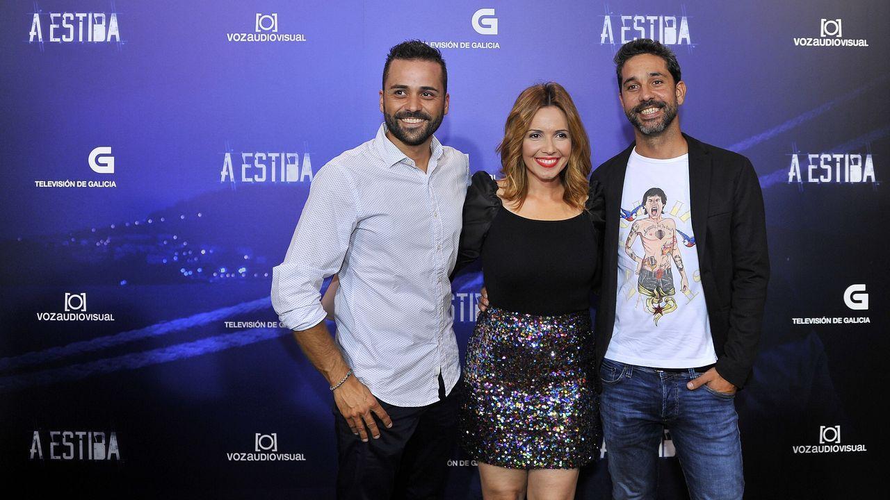 Los presentadores de TVG Bernardo Montaña, Lucía Rodríguez y Juan Fuentes