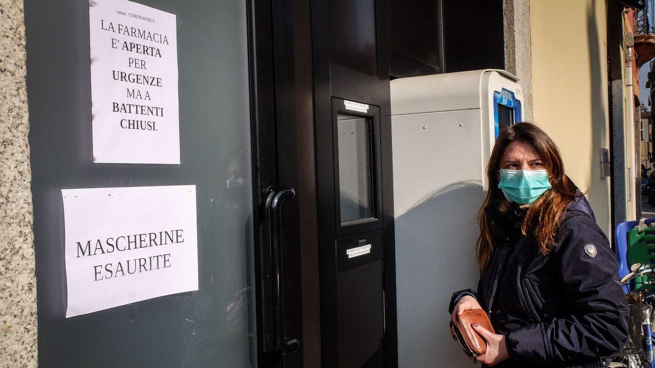 Colas para comprar comida en las zonas afectadas por el coronavirus en Italia.El líder norcoreano Kim Jong Un, en Vladivostok (Rusia) en una imagen de abril de 2019