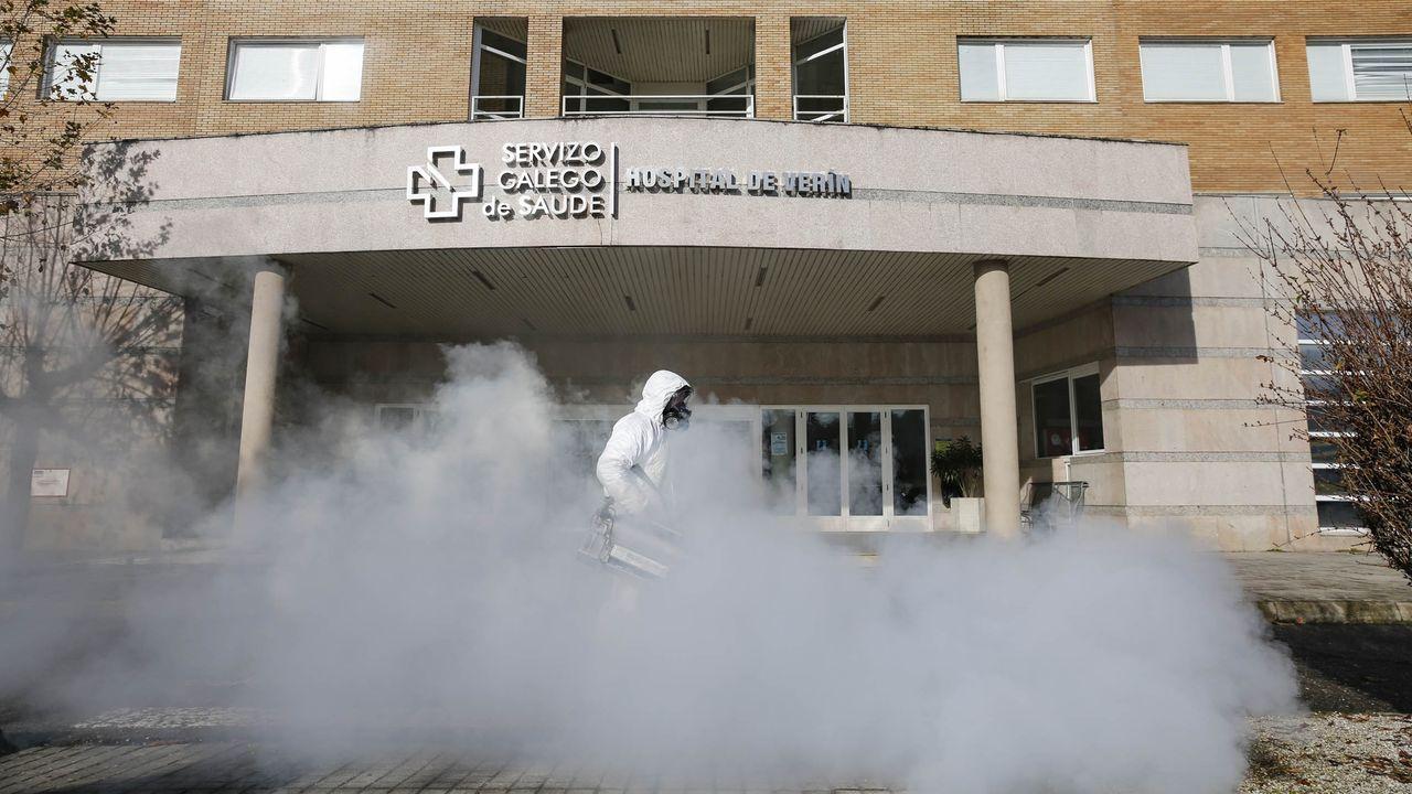 Imagen de una desinfección reciente en Verín