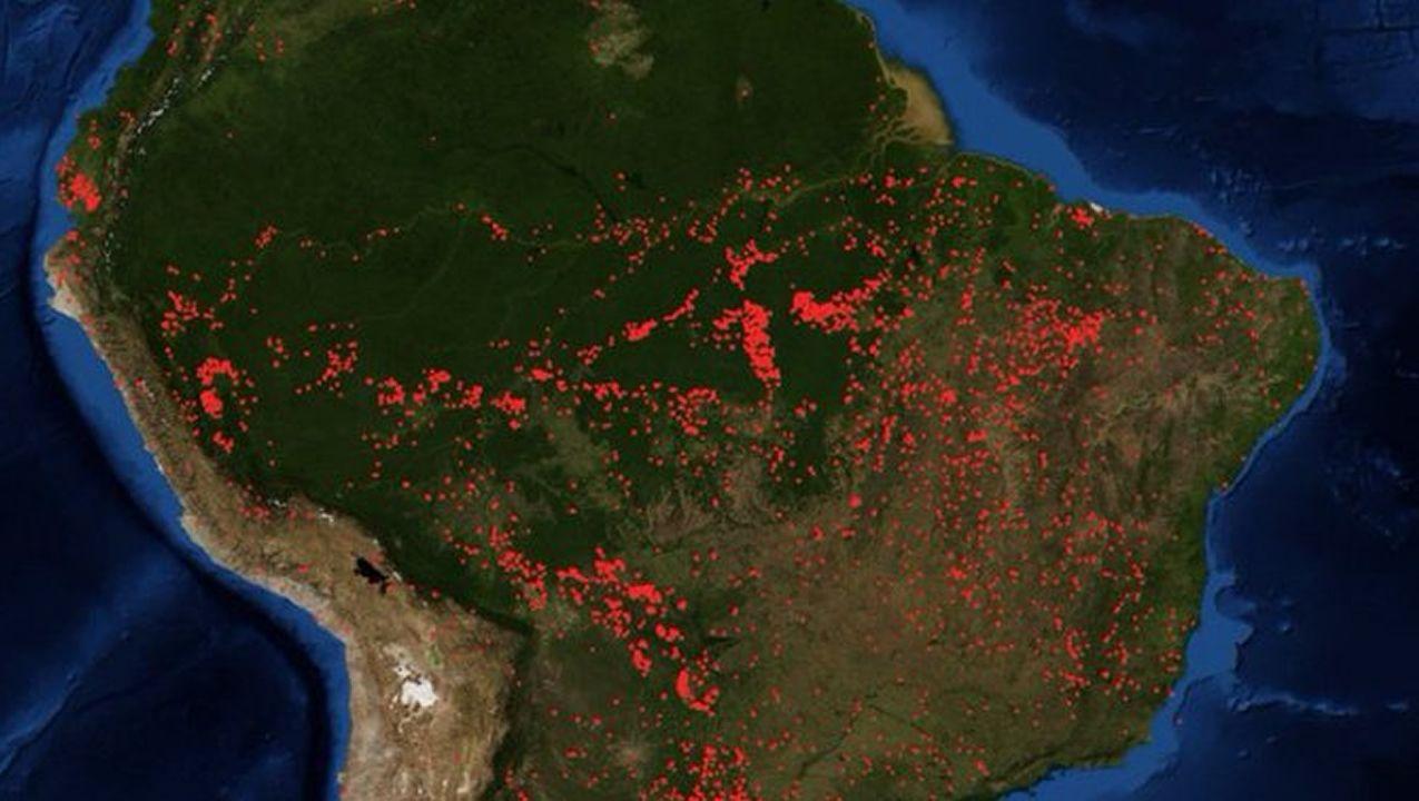 Incendios activos en la selva amazónica
