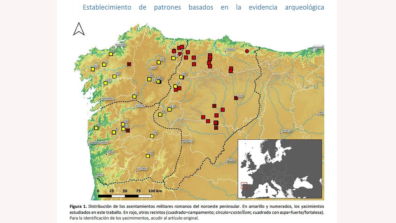 Distribución de los asentamientos militares romanos del noroeste peninsular.