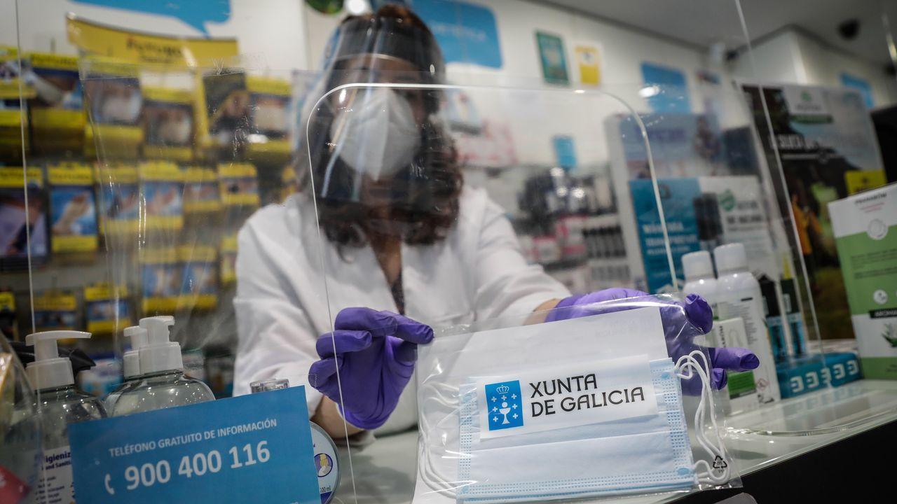 Primer día de uso obligatorio de mascarillas en Barbanza.Técnicos sanitarios del Hospital Universitario Central de Asturias (HUCA), trabajan en el interior de la cabina de seguridad del laboratorio de virología de este centro de referencia del Principado