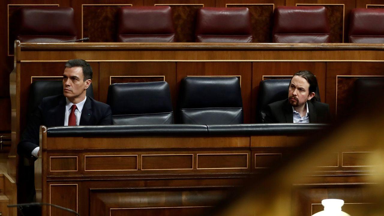 Sánchez y Iglesias, durante el último pleno del Congreso