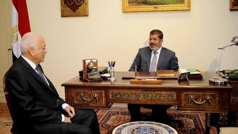 Musri recibió este domingo al presidente de la Liga Árabe, Nabil El-Arabi