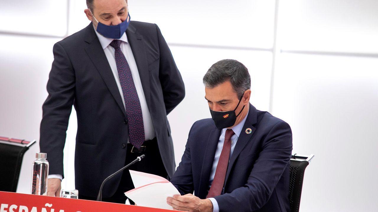 El presidente del Gobierno, Pedro Sánchez, ojea unos documentos durante la reunión de la ejecutiva del PSOE en presencia del ministro y secretario de organizacion José Luis Ábalos