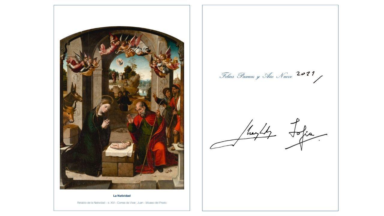 Postal de Navidad de don Juan Carlos I y de doña Sofía