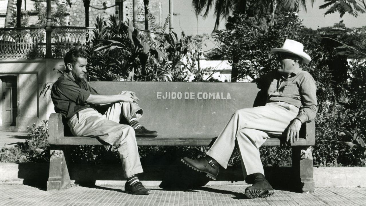 Juan Rulfo y Carlos Velo, buscando exteriores para el rodaje