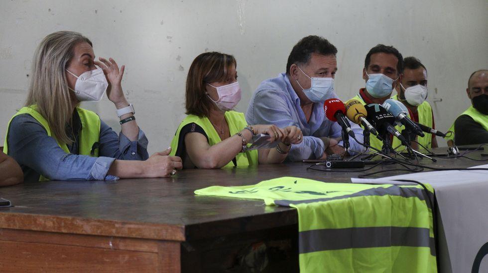 El comité de empresa de fábrica de Ence se movilizó este jueves ante la Subdelegación del Gobierno