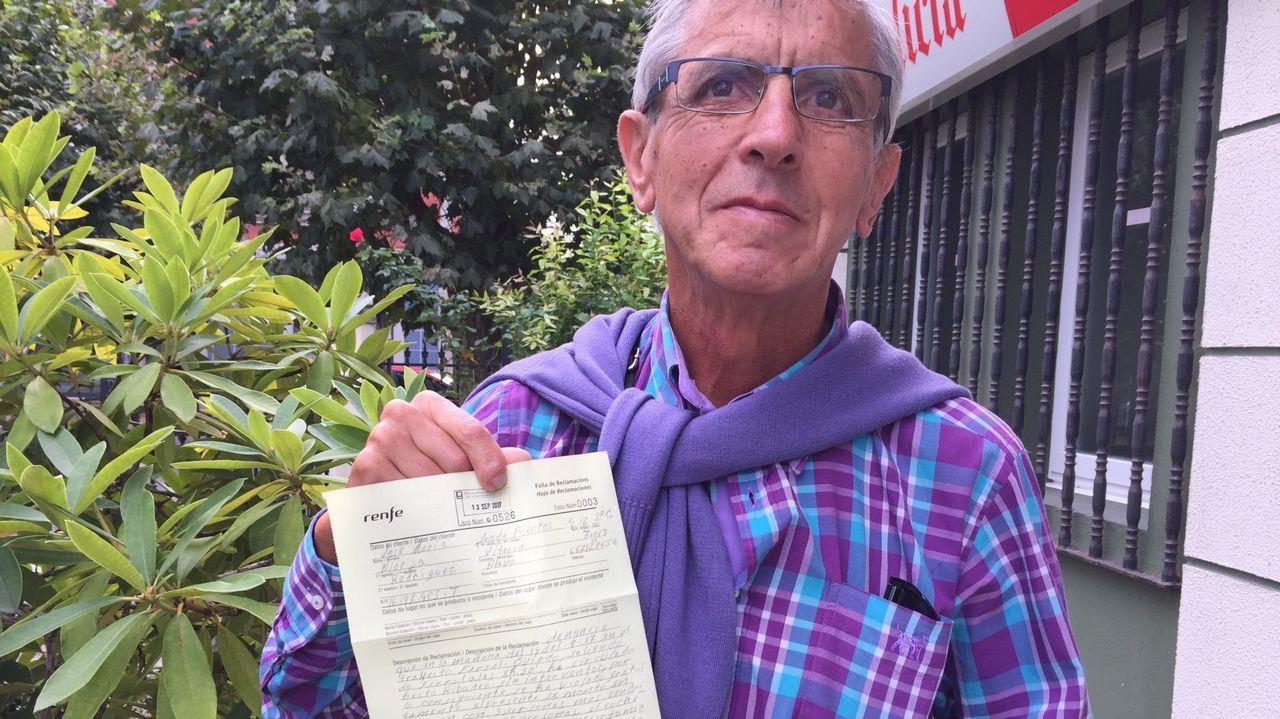 José María Lorza viajó gratis desde Ferrol a Ribadeo y nadie le crobó porque no había interventor. Hace unos meses presentó una reclamación a Renfe