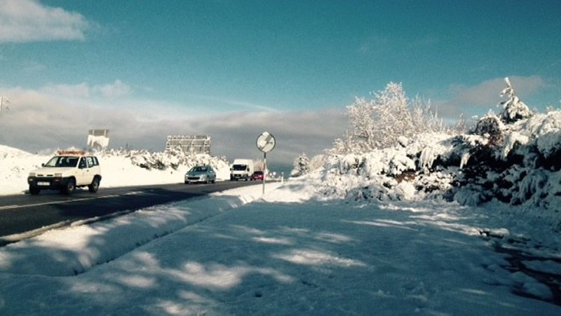 Todas las imágenes de las nevadas en Galicia.El enlace de la vía de Portomarín, sin terminar.