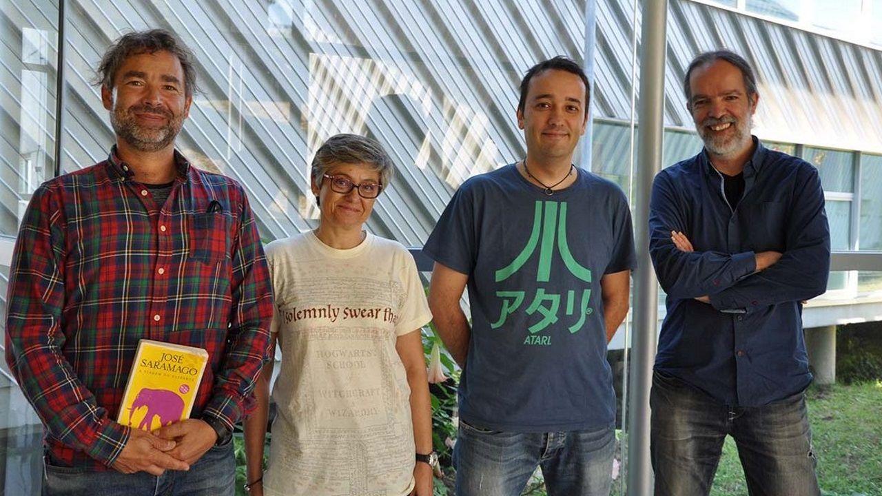 Burghard Baltrusch, Beatriz Legerén, Enrique Costa y Antonio Pena, equipo que hace un videojuego de un libro de Saramago. UNiversidad de Vigo